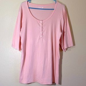 Henley Fitted Top Button Tee Pink Blouse Stretch